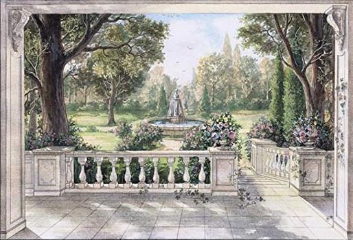 Hintergrund vintage mit Brunnen